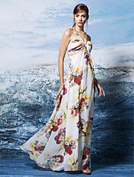 abordables -Funda / Columna Halter Hasta el Suelo Raso Evento Formal Vestido con Diseño / Estampado por TS Couture®