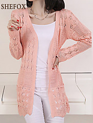 cheap -Women's Cut Out Solid V Neck Cardigan, Long Sleeves All Seasons Cotton Linen