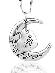 cheap -Super Shine I Love You To The Moon And Back Necklace For Mates Christmas Gift High Quanlity Silver