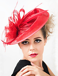 abordables -tocado de plumas de lino tocados elegante estilo femenino clásico