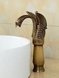 cheap -Antique Brass Finish Little Swan Tall Bathroom Sink Faucet