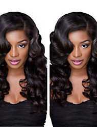cheap -Human Hair Glueless Lace Front / Lace Front Wig Body Wave Wig 120% Natural Hairline / African American Wig / 100% Hand Tied Women's Short / Medium Length / Long Human Hair Lace Wig