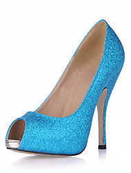 Heels Summer Club Shoes Synthetic Wedding Party & Evening Dress Blue