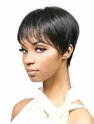 Недорогие -Парики из искусственных волос Прямой Искусственные волосы Парик Без шапочки-основы Естественный цвет
