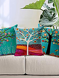 "cheap -Set of 3 18"" Cotton Linen Color Tree Print Pillow Bed Sofa Home Decorative Cushion"