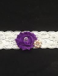 cheap -Lace Fashion Wedding Garter with Imitation Pearl Flower Garters