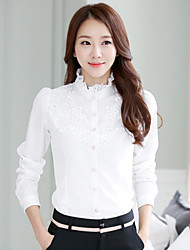 Для женщин Официальные Большие размеры Лето Рубашка Воротник-стойка,Простой Однотонный Жаккард Длинный рукав Тонкая