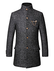 cheap -Men's Solid Casual / Work / Formal / Sport / Plus Sizes Trench coat,Wool / Cotton / Polyester Long Sleeve-Blue / Brown / Silver / Tan