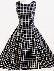 Vestito Da donna Vintage A quadri Medio A barca Cotone / Lino
