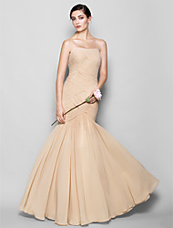 cheap -Fit & Flare Sweetheart Floor Length Chiffon Bridesmaid Dress with Criss Cross by LAN TING BRIDE®