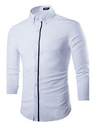 Masculino Camisa Casual / Escritório Cor Solida Manga Comprida Poliéster Azul / Branco