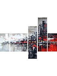 Недорогие -ручная роспись искусство декора стен черный красный городской маслом на холсте 5шт / комплект (без рамки)