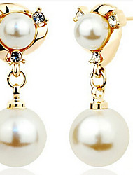 cheap -Drop Earrings Pearl Simulated Diamond Alloy Fashion Screen Color Jewelry 2pcs