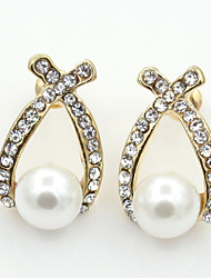 cheap -Women's Stud Earrings Crystal Fashion European Pearl Imitation Pearl Rhinestone Gold Plated Austria Crystal 18K gold Imitation Diamond