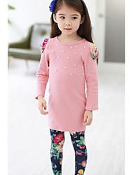 povoljno -Djevojčice Pamuk Poliester Jednobojni Zima Proljeće Jesen Dugih rukava Komplet odjeće Cvijetan Tamno plava Pink