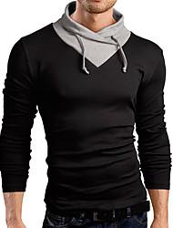 Masculino Camiseta Algodão Cor Solida Manga Comprida Casual-Preto / Azul / Branco / Cinza