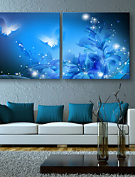 cheap -E-HOME® Stretched LED Canvas Print Art Shining Butterfly LED Flashing Optical Fiber Print Set of 2