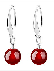 cheap -Women's Cute Natural Agate Silver Long Drop Earrings
