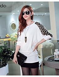 baratos -Mulheres Camiseta Casual Simples Outono,Leopardo / Patchwork Branco / Preto / Cinza Cashmere Manga Longa Média