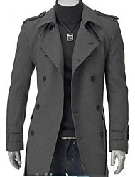 Men's Long Parka Coat,Simple Casual/Daily Plus Size Solid-Cotton Polyester Long Sleeves