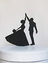 la mariée dansant et le marié gâteau topper réception de mariage élégant