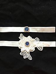Garter Stretch Satin Flower/Rhinestone White Wedding Accessories