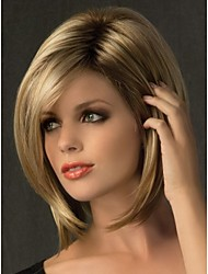New Short Blonde Mix With Side Bang Straigt Party Women Full Wig