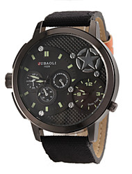 お買い得  -JUBAOLI 男性用 軍用腕時計 航空ウォッチ クォーツ ブラック / レッド / グリーン 2タイムゾーン ハンズ レッド グリーン カーキ色