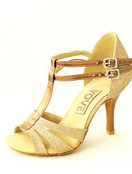Women's Latin Salsa Leatherette Sandals Indoor Practice Beginner Buckle Customized Heel Black Red Silver Blue Gold Customizable