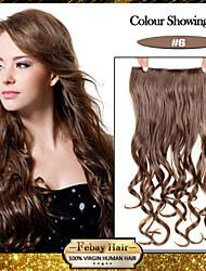 billige -5 klip bølget lys brun (# 6) syntetisk hår klippet i hair extensions til damer flere farver
