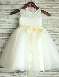 Princess Knee Length Flower Girl Dress - Tulle Sleeveless Scoop Neck with Ribbon by thstylee