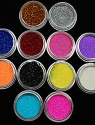 36pcs cores misturadas pequena delicada arte do prego pó glitter nail art folha tira pó pó arylic para decoração de unhas