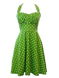 cheap -Women's Retro 50s Slim Polka Dot Sleeveless Swing Party Dress