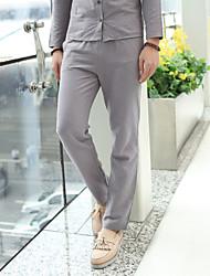 Muškarci Ležerne prilike Normalan struk Slim Sportske hlače Chinos Hlače, Lan Jednobojni Proljeće Jesen
