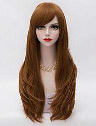 Harajuku Lolita  Long Layered Curly Hair With Side Bang Brown Heat-resistant Synthetic Women Fahsion Party Wig