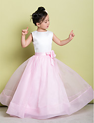 cheap -A-Line Floor Length Flower Girl Dress - Organza Satin Sleeveless Scoop Neck with Flower by LAN TING BRIDE®