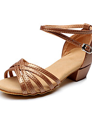 cheap -Women's Latin Shoes Flocking Flat / Sandal Chunky Heel Non Customizable Dance Shoes Brown / Practice / Professional
