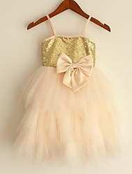 Princess Knee Length Flower Girl Dress - Tulle Sleeveless Spaghetti Straps with Sequin by thstylee