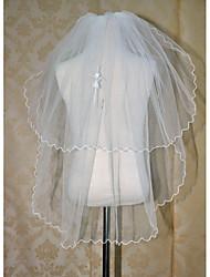Wedding Veil Two-tier Communion Veils Pencil Edge(Comb Not Include)