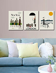 cheap -VISUAL STAR®Wall Decoration Art Print Poster London/New York/Paris Cartoon Decoration Picture Canvas set of 3