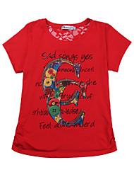 Mulheres Camiseta Casual Simples Verão,Estampado Vermelho / Verde Algodão / Poliéster Decote Redondo Manga Curta Leve Transparência