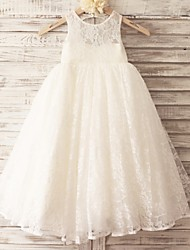 cheap -Princess Floor Length Flower Girl Dress - Lace Tulle Sleeveless Scoop Neck with Lace by LAN TING BRIDE®