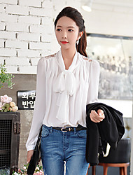 Pink Doll®Women's Bow Casual Lace OL Pleated Hollow Out Puff  Sleeve Shirt