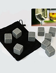 9 pcs/lot  Whiskey Stones Rock Ice Cubes Soapstone Drink Freezer