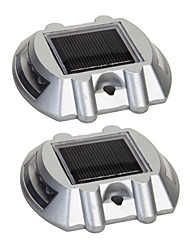 cheap -Pack of 2 Aluminum Solar 6-LED Outdoor Road Driveway Dock Path Ground Light Lamp