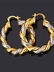 U7® Women's Vintage Big Hoop Earrings 2015 Fashion Jewelry Platinum/Gold Plated Two-tone Gold Earrings
