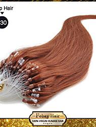 Недорогие -Febay Накладка на микрокольце Расширения человеческих волос Прямой Классика Натуральные волосы 1 комплект Темно-рыжий Отбеливатель Blonde Светло-русый