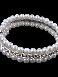 お買い得  -女性用 レイヤード ストランドブレスレット  -  真珠, イミテーションダイヤモンド カジュアル, ビーズ, ファッション ブレスレット スクリーンカラー 用途 日常