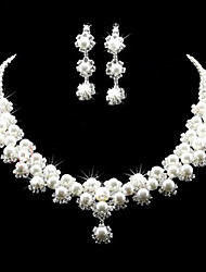 cheap -Jewelry Set - Cubic Zirconia, Silver Plated Party, Fashion, Bridal Include White For Wedding / Party / Special Occasion / Earrings / Necklace