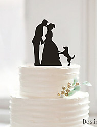 cheap -Cake Topper Classic Couple Acrylic Wedding Anniversary Bridal Shower With OPP